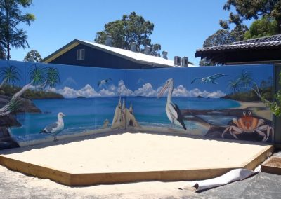 Beachside sandpit mural