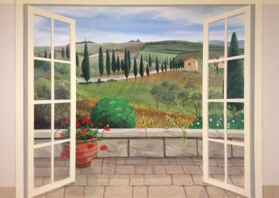 French door balcony Trompe-L'oeil Mural