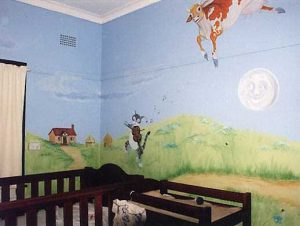 Art Studio Becsmart Murals Mural kids art Childrens room interior decorating nurserybaby's room rooms pre school early childhood school muralsPatricia Smart Spinebill Studio Blue mountains artist painting Australian artist BMCAN