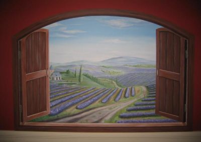 Lavender fields through window Trompe-Loeil' Becsmart Murals