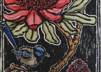 Waratah and blue wrens hand coloured woodblock Patricia Smart