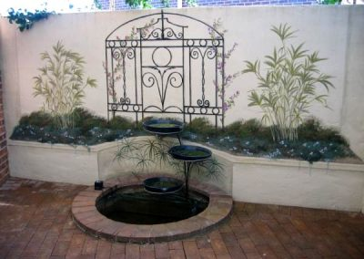 Fishpond and garden Mural Courtyard