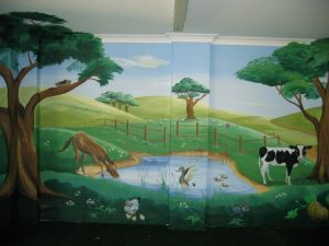 Art Studio Becsmart Murals Mural kids art Childrens room interior decorating nursery baby's room rooms pre school early childhood school murals Patricia Smart Spinebill Studio Blue mountains artist painting Australian artist BMCAN farmyard