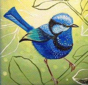 Art Studio Arts trail Patricia Smart Spinebill Studio Blue mountains artist painting blue wren